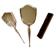 BIRKS STERLING Silver 925 Vanity Dresser Set Mirror Comb Brush Engraved