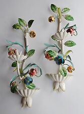 ANTIQUE VTG ITALIAN METAL TOLE LEAVES & FLOWERS SCONCE WALL CANDLE HOLDER PAIR