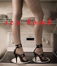 SEXY sandali con CAVIGLIERA cinturino nero lucido tacco 11,5 numero 38 GLAMOUR !