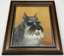 Signed ANTIQUE DOG OIL PAINTING Schnauzer Portrait by Joan Jocelyn RARE Fine Art