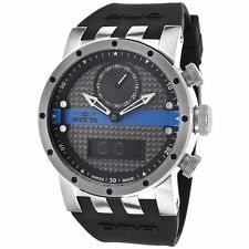 New Mens Invicta 12462 DNA Analog-Digital Black Rubber Strap Watch