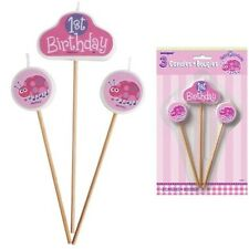Ladybug 1st Birthday Party Candle/Cake Topper Decorations Set/Girls First B'day