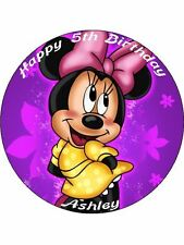 """Minnie Mouse 7.5"""" Rice Paper Birthday Cake Topper PUR"""