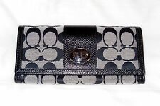 NWT COACH F 44001 SUTTON SIGNATURE SLIM ENVELOPE WALLET Black White $198