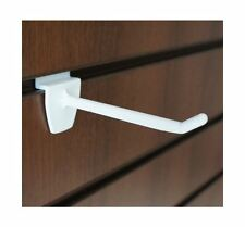 100 x SLATBOARD SLATWALL WHITE PLASTIC HOOK HANGER RETAIL DISPLAY 150mm BULK BUY