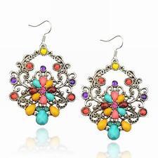 Colorful Teardrop CZ Rhinestone Drop Cluster Hollow Acrylic Dangle Hook Earrings