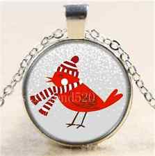 Winter Red Bird Photo Cabochon Glass Tibet Silver Chain Pendant Necklace
