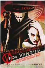 V FOR VENDETTA MOVIE POSTER 27x40 RARE  WILD POSTING VER#1 NATALIE PORTMAN