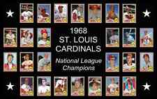 1968 St Louis Cardinals World Series Baseball Card Poster 17x11 Unique Art Decor