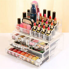 Clear Acrylic Makeup Cosmetics Jewelry Organizer 4 Drawers Display Box Storage