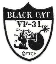 "2.5X3"" FELIX black cat VF-31 bomb Tomcatters EMBROIDERED IRON ON / SEW ON PATCH"
