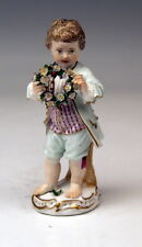 MEISSEN FIGUR GÄRTNERKIND KNABE BLUMENGIRLANDE BOY WREATH OF FLOWERS UM 1775/80