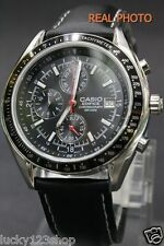 EF-503L-1A Black Casio Men's Watches Edifcie Stopwatch Date 100M Leather Band
