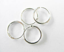 925 Sterling Silver 4 Pairs of Little Hoop Earrings 10mm.