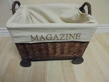 """14"""" Adorable Magazine Whicker Lined Basket on Wheels 14 x 19 x 14"""