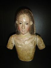 Antique Spanish Colonial Polychrome Wood Virgin Madonna Bust Glass Eyes C.1770.