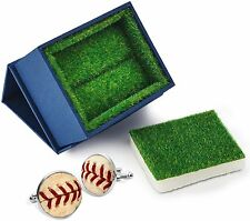 MLB Real Used Baseball Seam Sports Fan Cufflinks with Grass