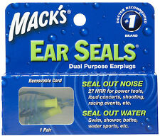 Mack's Ear Seals Earplugs with detachable cord for noise water swimming