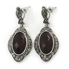 Black, Hematite Crystal Oval Marcasite Drop Earrings In Burnt Silver Tone - 45mm