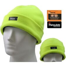 NEW HI VIZ VIS VISIBILITY THINSULATE FLEECE THERMAL BEANIE CAP SKI HAT