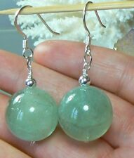 NATURAL TRANSLUCENT ROUND 18mm GREEN AQUAMARINE .925 STERLING SILVER EARRINGS