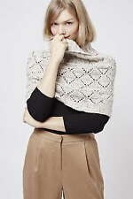 BNWT Topshop Oat Cream Diamond Stitch Pullover Shawl Polo Neck, Onesize RRP £22