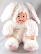 Anne GEDDES 1997 BUNNY Baby Face Kids BLUE Eyes+ TEETH Doll Plush Toy Beanie 9""