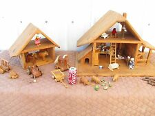 Two Large Vintage Country Style Farm Doll House Dollhouse with Accessories Pair