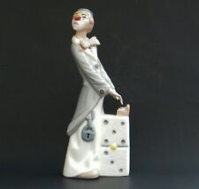 Tall Casades Porcelain Clown Figurine Spain Musician Playing Domino Piano Stand
