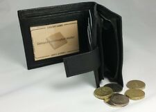 Mens Wallet Leather Black Purse Double Note Section Cards Back Coin Pocket Black