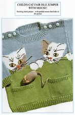 VINTAGE KNITTING PATTERN - CHILD'S CAT FAIR ISLE JUMPER - 4 PLY - LAMINATED