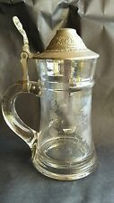 Antique 19th Century Colorless Glass German Stein, Wheel Cut, Pewter Lid #1