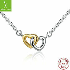 Authentic 925 Sterling Two interlinked heart With 14k Gold Love Pendant Necklace
