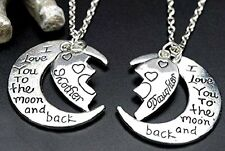 Mom & Daughter Necklace Set Half Heart Love You To The Moon and Back Charm Gift