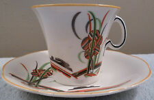Antique art deco Woods Ivoreen tea cup and saucer, bold orange floral design