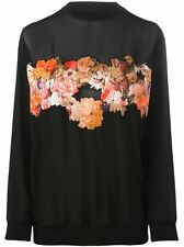 $2250 Givenchy Women's Floral & Butterfly Black Silk Loose Fit Sweater size 36