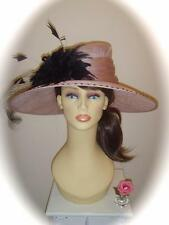Cappelli Condici Hat, Pale Pink & Black, 18 inch, RRP £315