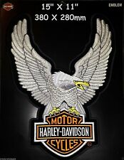 "HARLEY DAVIDSON EAGLE WINGS XXL Patch Silver 15"" X 11"" BIGGEST EVER MADE & RARE"