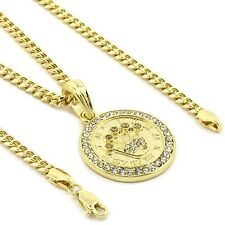 "Mens 14k Gold Plated Cz Small Medallion Crown Pendant Hip-Hop 30""3mm Cuban Chain"