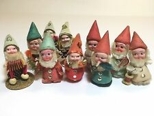 Lot of 10 Antique Handmade Hand Painted Elves Gnomes Santa Helpers Made in JAPAN