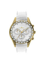 JACQUES LEMANS 1646G Gold  Swarovski crystal  white leather band Ret.$458 NEW