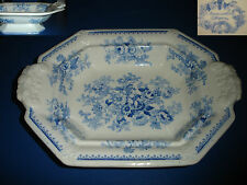 anique blue white pottery english transferware footed veggie dish serving bowle
