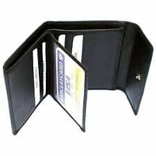 REAL Leather Wallet – Purse | SMALL | 10 Card Pockets | BLACK | FREE Shipping