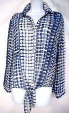 CHICO'S 2  NAVY BLUE CIRCLE STRIPE POLY TIE LONG SLEEVE BLOUSE/SHIRT/TOP/TUNIC