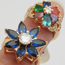 Wholesale 2 Pcs/Lot Flower Jewelry Cubic Zircon Gold Plated Lady Rings Size 6