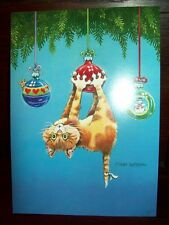 """NEW BOXED KITTY """"What Now Cat"""" CHRISTMAS HOLIDAY CARDS ENV 18 CT"""