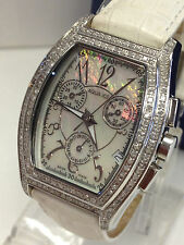 LADY AQUA ICE 2CT DIAMOND CHRONOGRAPH CALENDAR MOTHER OF PEARL SWISS WHITE WATCH