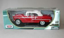 1:18 Motormax 1955 Chevrolet Bel Air Convertible - Red w/White Top