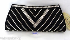 ELEGANT BLACK WITH CRYSTAL PATTERN EVENING / CLUTCH BAG