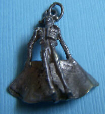Vintage bullfighter and cape Spain silver charm